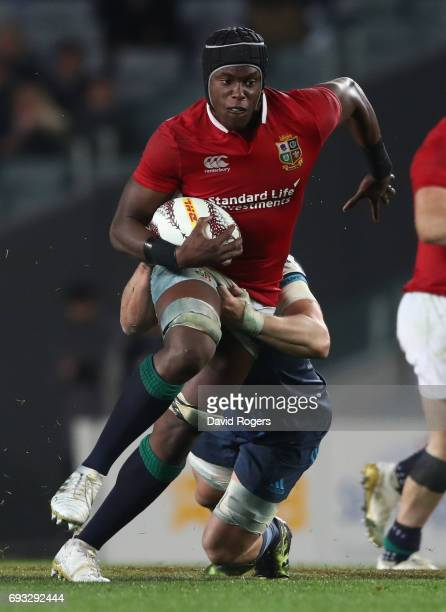 Maro Itoje of the British Irish Lions charges upfield during the 2017 British Irish Lions tour match between the Blues and the British Irish Lions at...