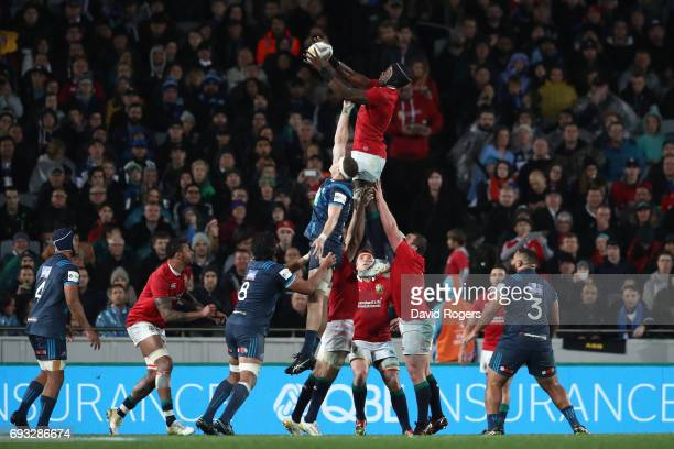 Maro Itoje of the British Irish Lions wins lineout ball during the 2017 British Irish Lions tour match between the Blues and the British Irish Lions...