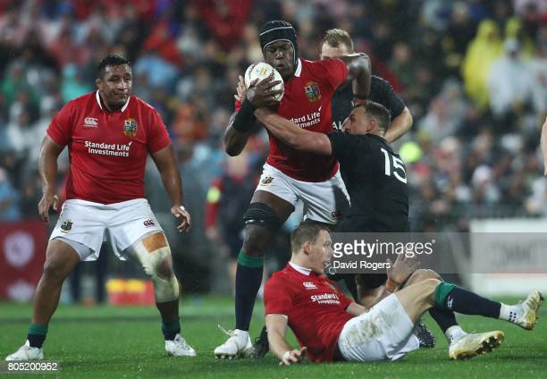 Maro Itoje of the Lions and Israel Dagg of the All Blacks compete for the ball during the second test match between the New Zealand All Blacks and...