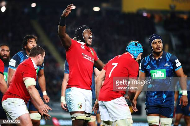 Maro Itoje of the Lions calls the lineout during the match between the Auckland Blues and the British Irish Lions at Eden Park on June 7 2017 in...