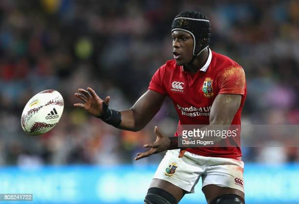 Maro Itoje of the Lions catches the ball during the match between the New Zealand All Blacks and the British Irish Lions at Westpac Stadium on July 1...