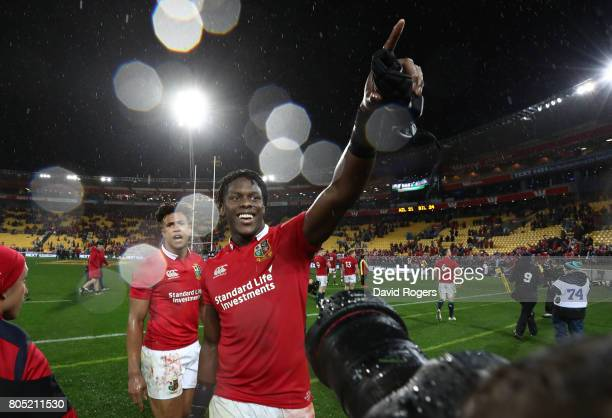 Maro Itoje of the Lions celebrates with the fans following their team's 2421 victory during the second test match between the New Zealand All Blacks...