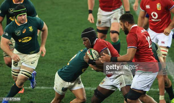 Maro Itoje of the Lions charges upfield during the 2nd test match between South Africa Springboks and the British & Irish Lions at Cape Town Stadium...