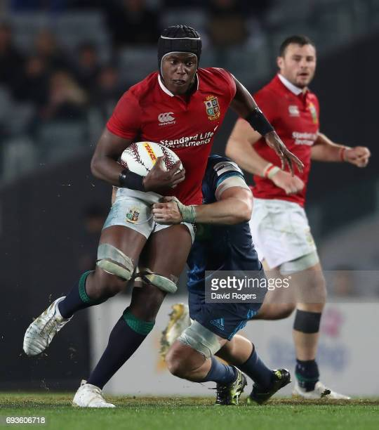 Maro Itoje of the Lions charges upfield during the match between the Auckland Blues and the British Irish Lions at Eden Park on June 7 2017 in...