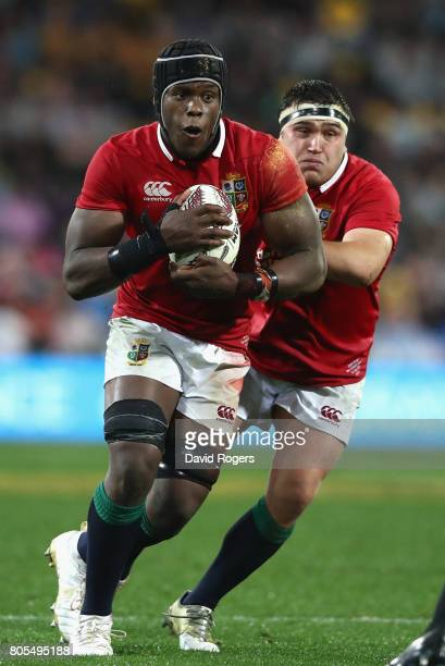 Maro Itoje of the Lions charges upfield during the match between the New Zealand All Blacks and the British Irish Lions at Westpac Stadium on July 1...
