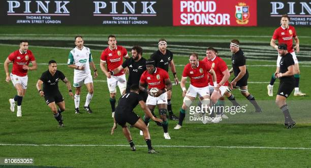 Maro Itoje of the Lions charges upfield during the third test match between the New Zealand All Blacks and the British Irish Lions at Eden Park on...