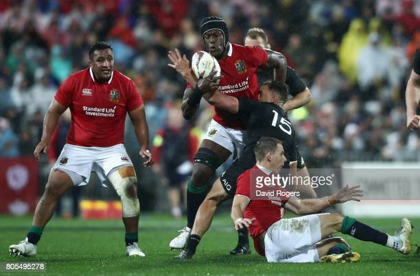 Maro Itoje of the Lions is tackled by Israel Dagg during the match between the New Zealand All Blacks and the British Irish Lions at Westpac Stadium...