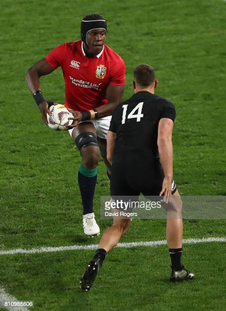 Maro Itoje of the Lions takes on Israel Dagg during the Test match between the New Zealand All Blacks and the British Irish Lions at Eden Park on...