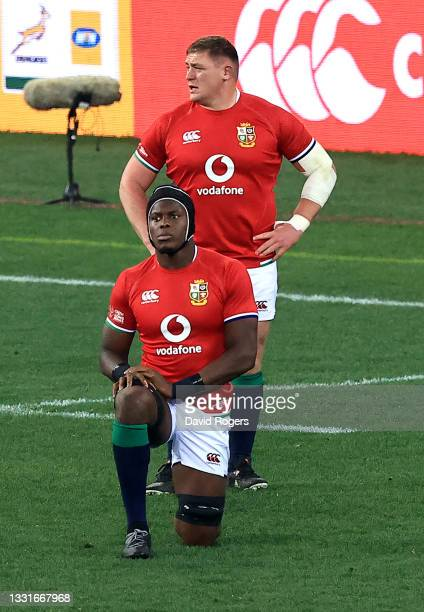 Maro Itoje of the Lions takes the knee during the 2nd test match between South Africa Springboks and the British & Irish Lions at Cape Town Stadium...