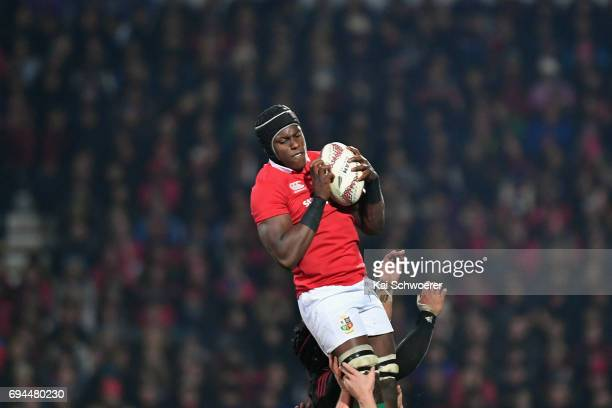 Maro Itoje of the Lions wins a lineout during the match between the Crusaders and the British Irish Lions at AMI Stadium on June 10 2017 in...