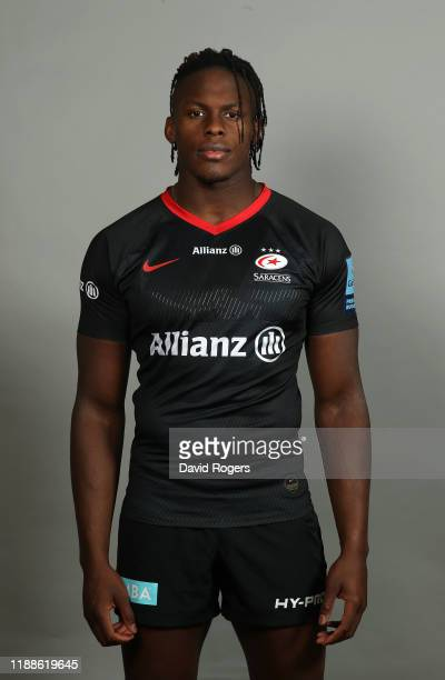 Maro Itoje poses for a portrait during the Saracens squad photo call for the 2019-20 Gallagher Premiership Rugby season on November 19, 2019 in...