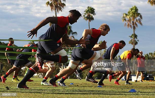 Maro Itoje spints with team mates during the England training session at Sanctuary Cove on June 6 2016 ion the Gold Coast Australia