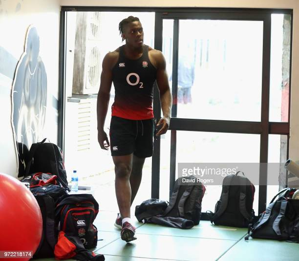 Maro Itoje walks into the gym during the England gym session held at Kings Park Stadium on June 12 2018 in Durban South Africa