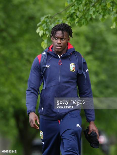 Maro Itoje walks to the training field during the British and Irish Lions training session held at Carton House Golf Club on May 22 2017 in Maynooth...