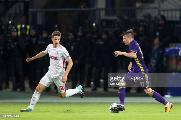 Maro Pasalic of Spartak Moscow and Martin Kramaric of NK Maribor during UEFA Champions League group E match between NK Maribor and Spartak Moscow at...