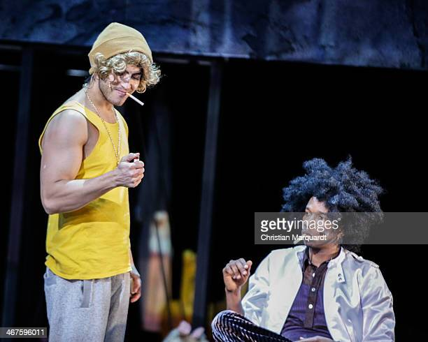 Marof Yaghoubi and Ibrahima Balde perform on stage during rehearsals for 'Tee Im Harem Des Archimedes' at Deutsches Theater Berlin on February 07,...