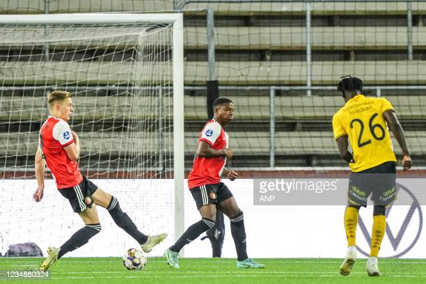 Marokhy Ndione of Elfsborg scores the 3-1 during the UEFA Conference League play-offs match between IF Elfsborg and Feyenoord at the Boras Arena on...