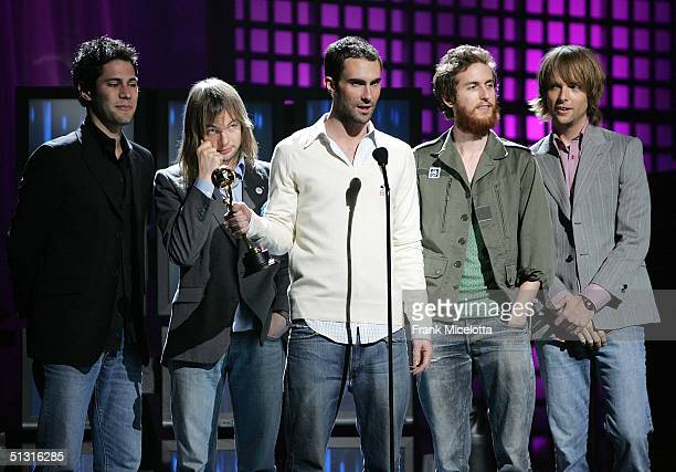 Maroon 5 accept the award for Best Group during a pretaped segment of the 2004 World Music Awards September 13 2004 at the Thomas Mack Center in Las...