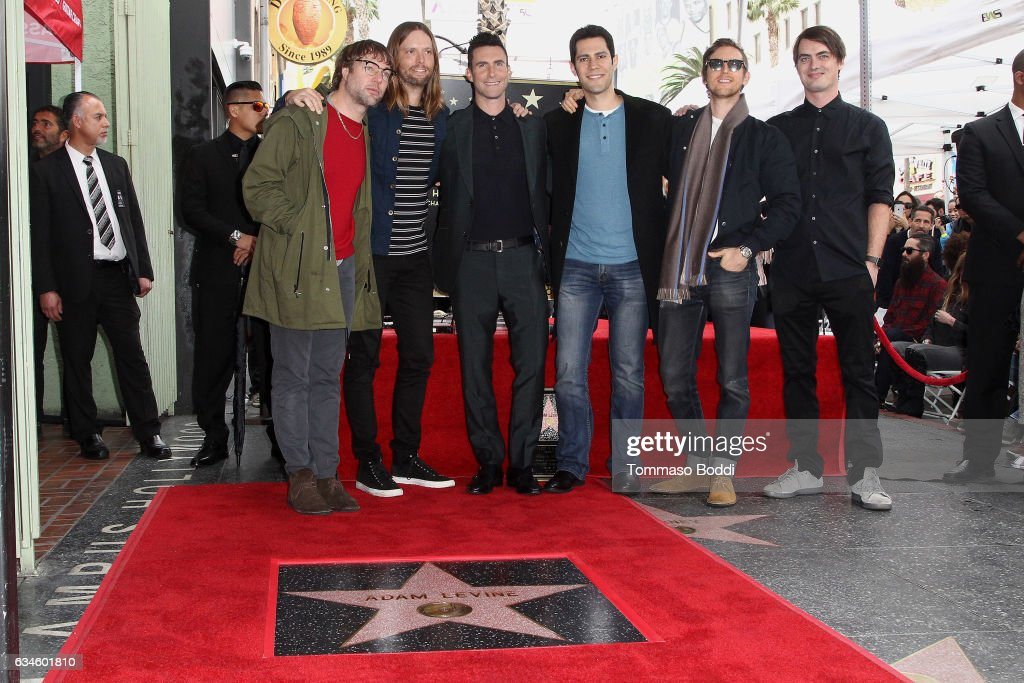 Maroon 5 attend a ceremony honoring Adam Levine with Star On The Hollywood Walk Of Fame on February 10, 2017 in Hollywood, California.