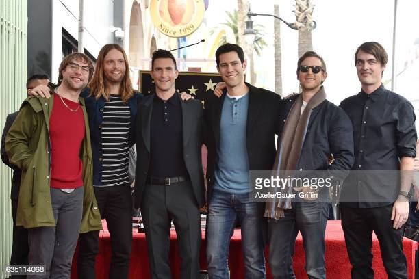 Maroon 5 attend the ceremony honoring Adam Levine with star on the Hollywood Walk of Fame on February 10 2017 in Hollywood California