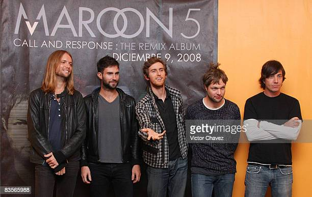 Maroon 5 band members Musician James Valentine Lead vocalist Adam Levine Jesse Carmichael Michael Madden and Matt Flynn attends a press conference to...