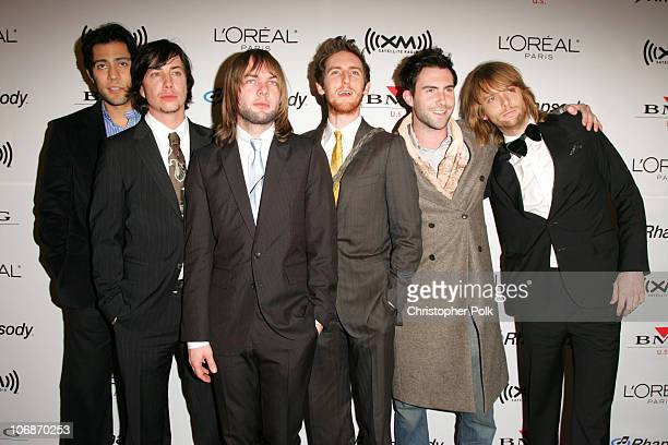 Maroon 5 during 2006 Clive Davis PreGRAMMY Awards Party Arrivals at Beverly Hilton Hotel in Beverly Hills California United States