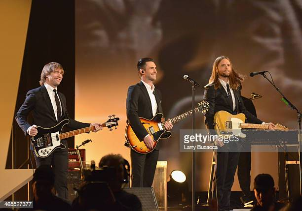 Maroon 5 Mickey Madden Adam Levine James Valentine and PJ Morton perform onstage during The Night That Changed America A GRAMMY Salute To The Beatles...