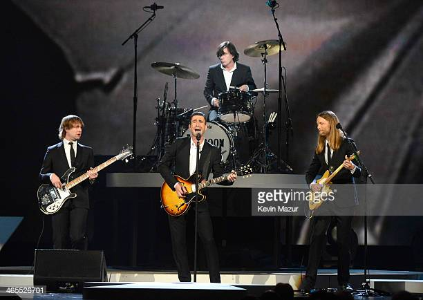 Maroon 5 perform onstage at The Night That Changed America A GRAMMY Salute To The Beatles at Los Angeles Convention Center on January 27 2014 in Los...
