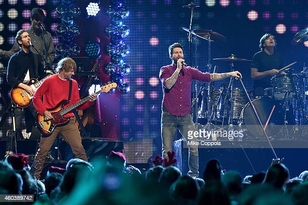 Maroon 5 performs onstage during iHeartRadio Jingle Ball 2014 hosted by Z100 New York and presented by Goldfish Puffs at Madison Square Garden on...