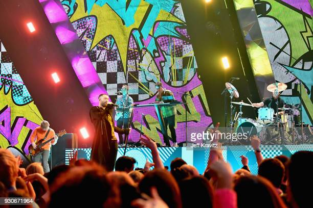 Maroon 5 performs onstage during the 2018 iHeartRadio Music Awards which broadcasted live on TBS TNT and truTV at The Forum on March 11 2018 in...