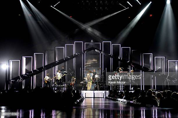 Maroon 5 performs onstage during the V tour at Madison Square Garden on March 5 2015 in New York City