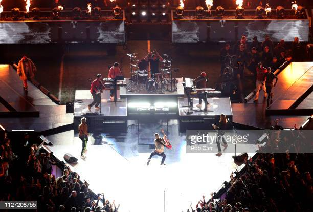 Maroon 5 performs with Big Boi Sleepy Brown and Travis Scott during the Pepsi Super Bowl LIII Halftime Show at MercedesBenz Stadium on February 03...