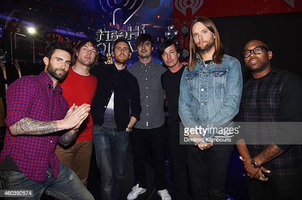 Maroon 5 poses backstage at iHeartRadio Jingle Ball 2014 hosted by Z100 New York and presented by Goldfish Puffs at Madison Square Garden on December...