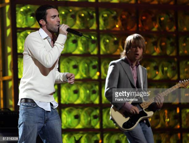 Maroon 5 singer Adam Levine and guitarist James Valentine performing during a pretaped segment of the 2004 World Music Awards September 13 2004 at...