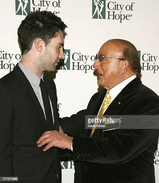 Maroon 5 singer Adam Levine and music executive Clive Davis pose at City of Hope's Spirit of Life Award Gala at the Pacific Design Center on October...