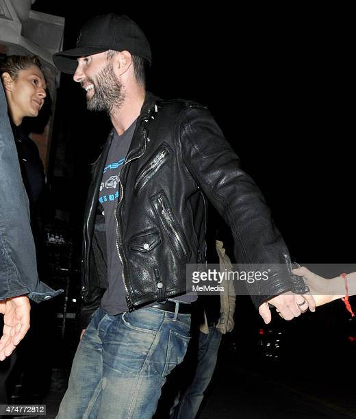 Maroon 5 singer Adam Levine is seen arriving at The Chiltern Firehouse on May 25 2015 in London England