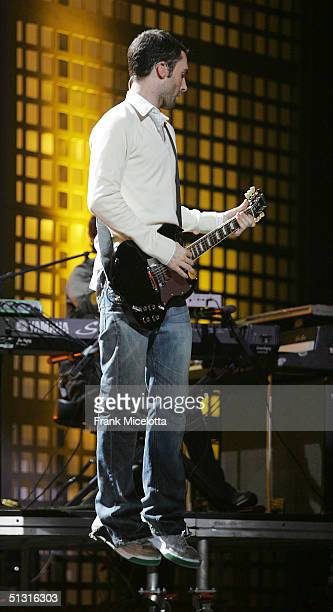 Maroon 5 singer Adam Levine jumps while performing during a pretaped segment of the 2004 World Music Awards September 13 2004 at the Thomas Mack...