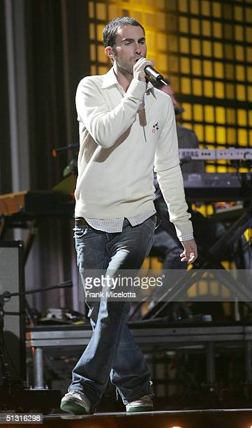 Maroon 5 singer Adam Levine performing during a pretaped segment of the 2004 World Music Awards September 13 2004 at the Thomas Mack Center in Las...