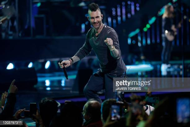 Maroon 5 US singer Adam Levine performs during the 61th Vina del Mar International Song Festival in Vina del Mar Chile on February 27 2020