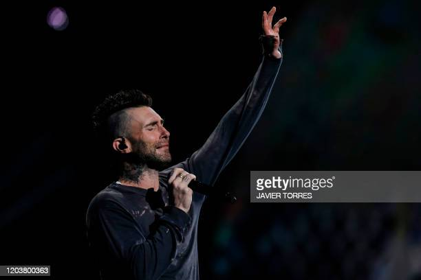 Maroon 5 US singer Adam Levine performs during the 61th Vina del Mar International Song Festival in Vina del Mar, Chile, on February 27, 2020.