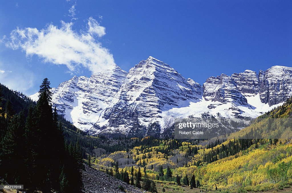 Maroon Bell Mountain Maroon Bells Colorado Usa Stock Photo
