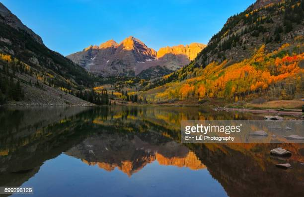 maroon bells alpen glow - aspen colorado stock photos and pictures
