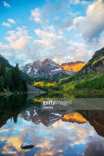 Maroon Bells and Lake at Sunrise, Colorado, USA