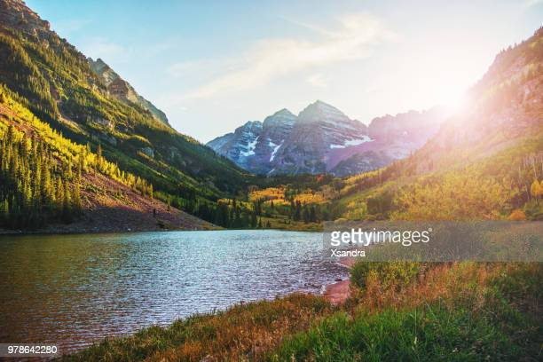 maroon bells and lake at sunset, colorado, usa - white river national forest stock photos and pictures