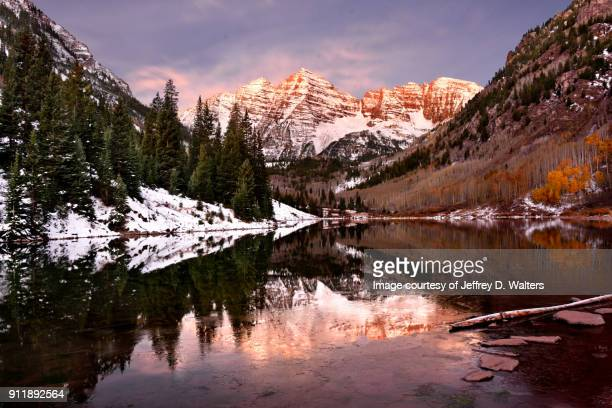maroon bells at dawn - aspen colorado stock photos and pictures