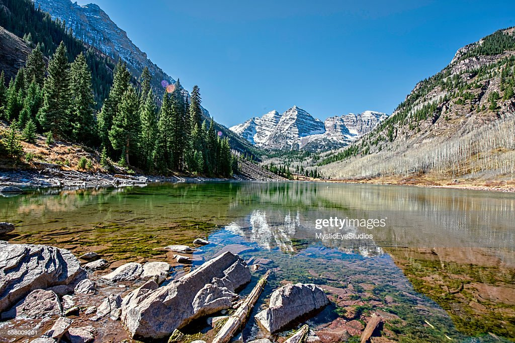Maroon Bells Low Angle : Stock Photo