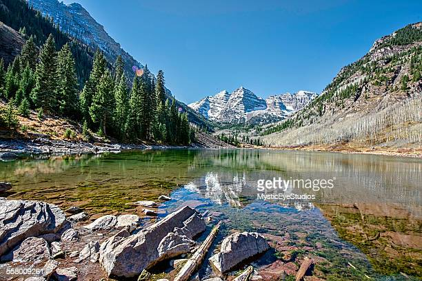 maroon bells low angle - maroon bells stock photos and pictures