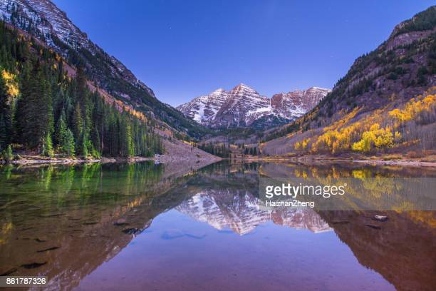 maroon bells nightscape with fall colors - maroon bells stock photos and pictures
