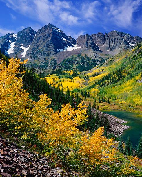 Maroon Bells With Autumn Aspen Trees