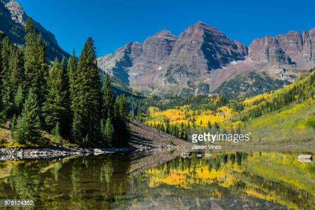 maroon bells with white river national forest, aspen, colorado, usa - white river national forest stock photos and pictures